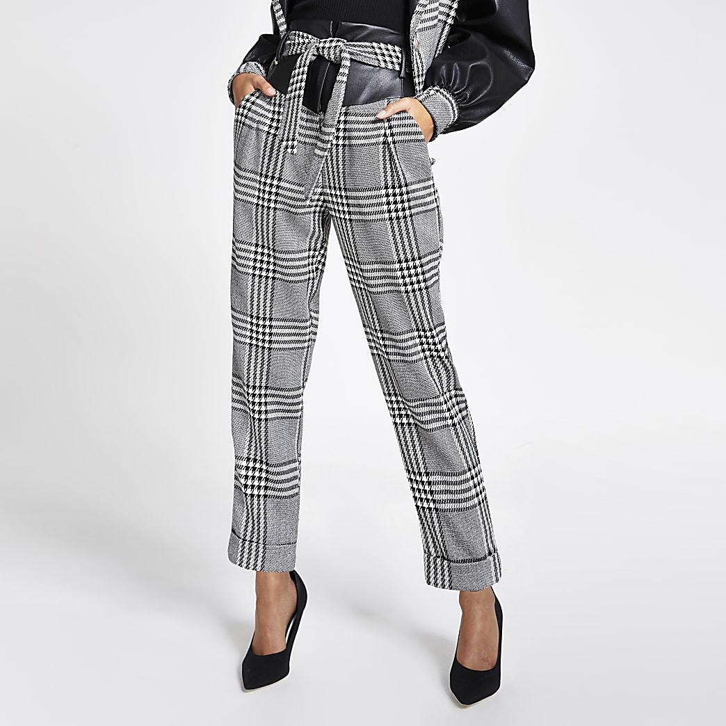 Zwarte geruite broek met hoge taille