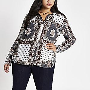 Plus – Graues langärmeliges Hemd mit Muster