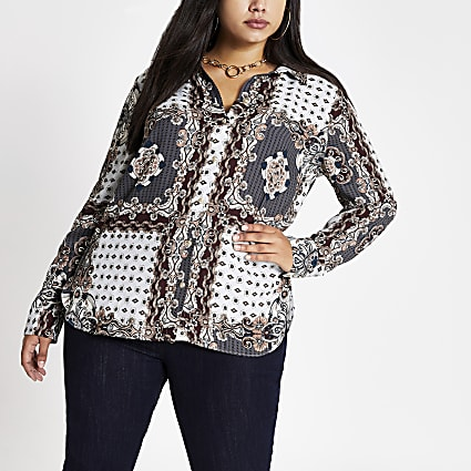 Plus grey printed long sleeve shirt