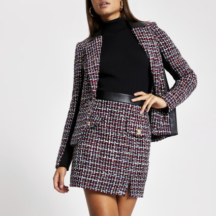 Navy boucle button mini skirt