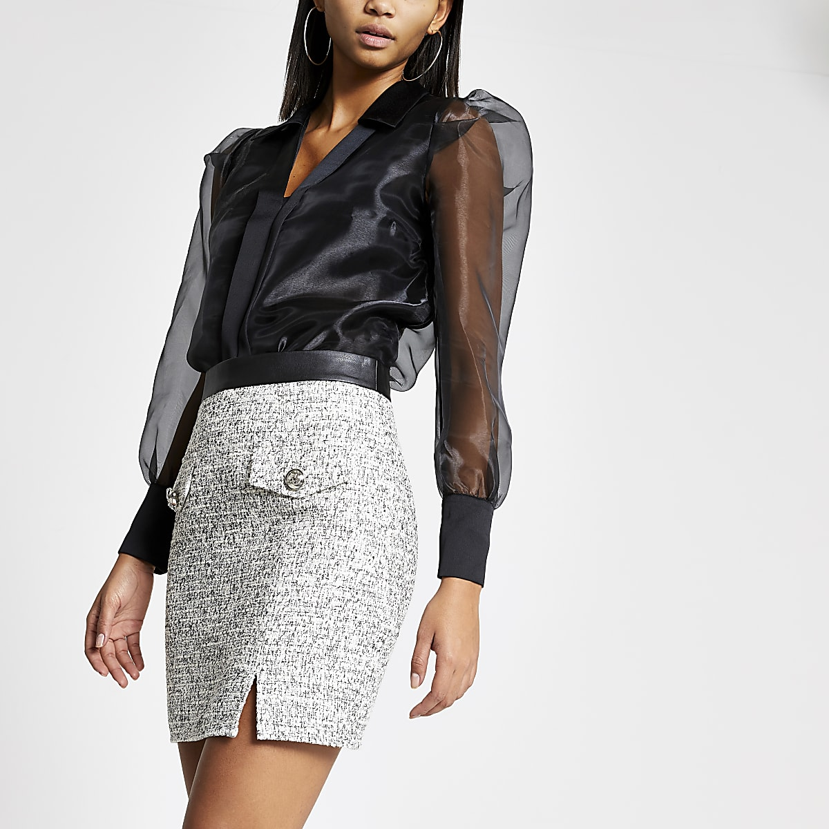 Cream boucle pocket mini skirt