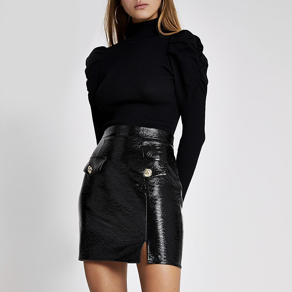 Black patent faux leather mini skirt