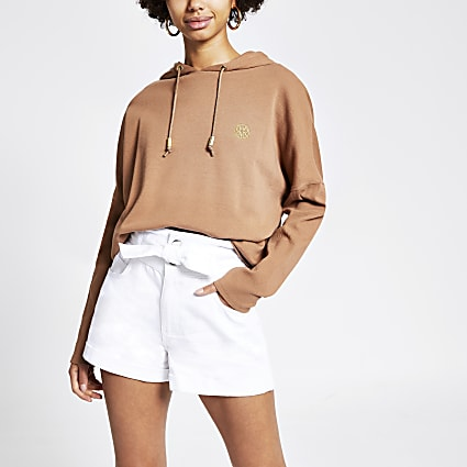 White paperbag tie waist denim shorts