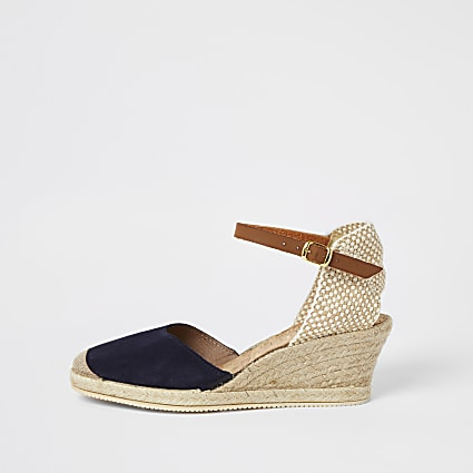 Ravel navy print espadrille wedges