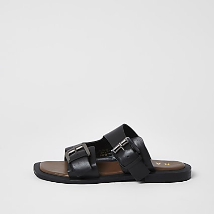 Ravel black leather double buckle sandals