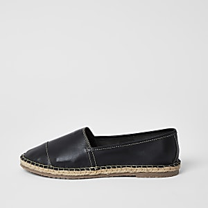 Ravel black leather espadrille sandals