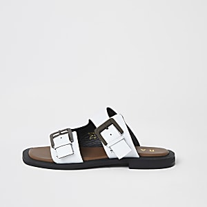 Ravel white leather double buckle sandals