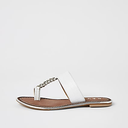 Ravel white leather croc toe ring sandals