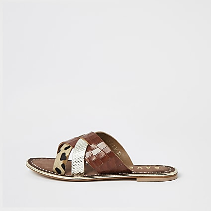Ravel brown leather cross over sandal