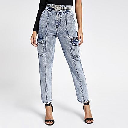 Blue acid wash zip pocket belted denim jeans