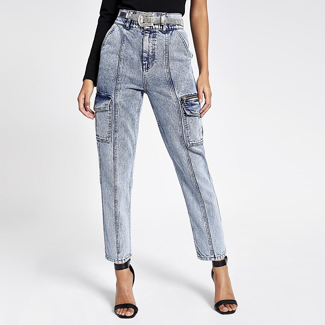 Blauwe acid wash denim jeans met ceintuur en broekzak met rits