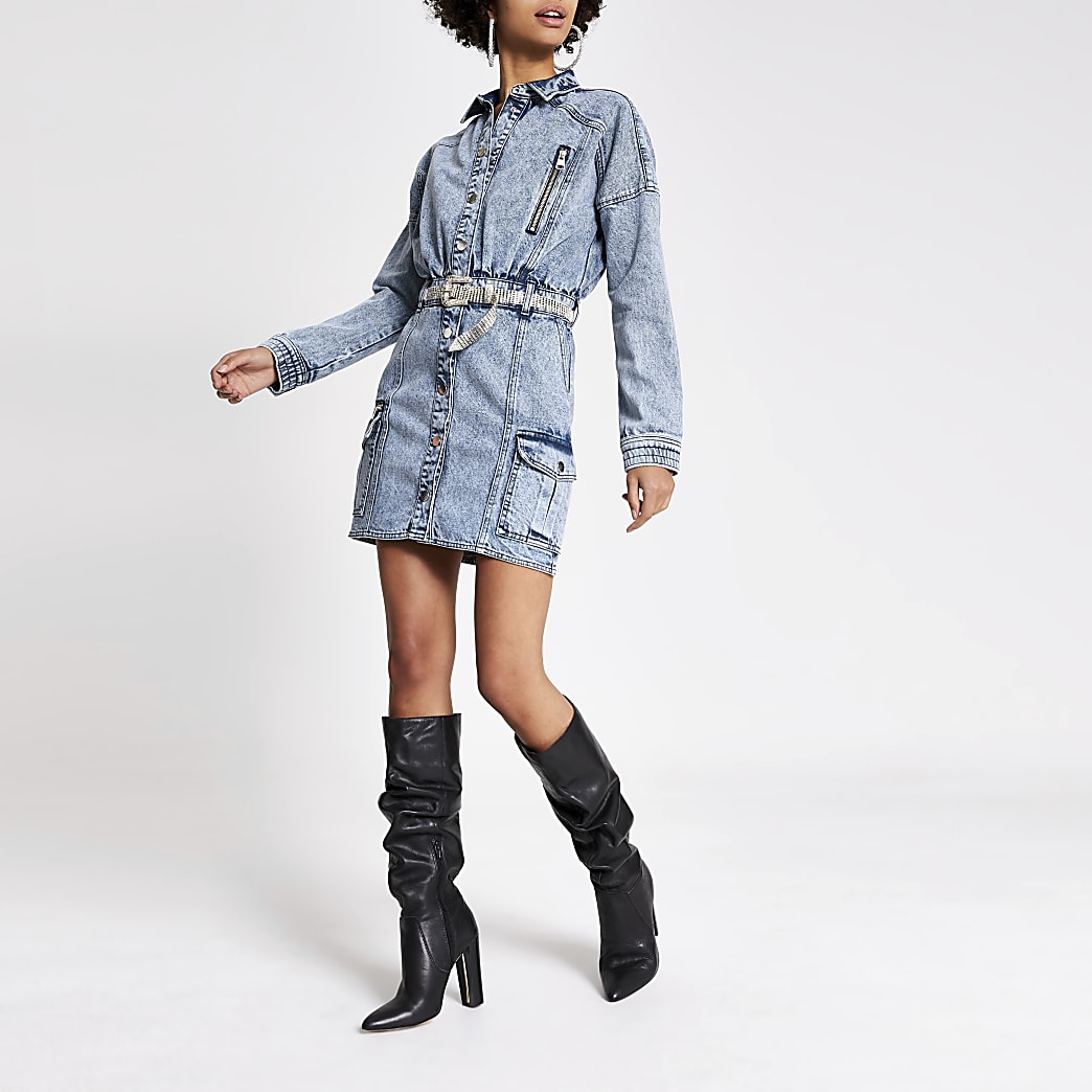 Blue diamante belted mini denim dress