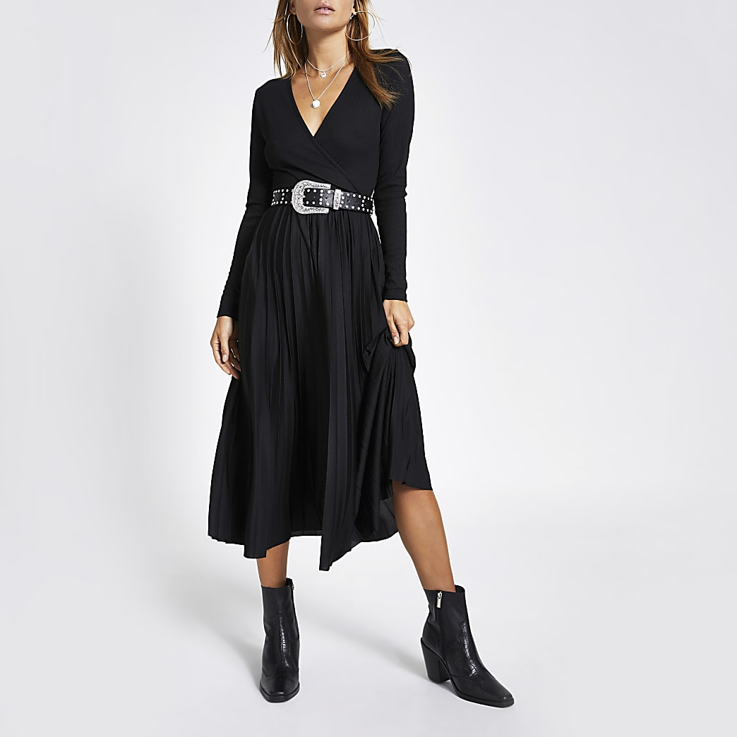 Black wrap pleated midi dress