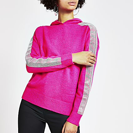 Bright pink diamante knitted hoodie