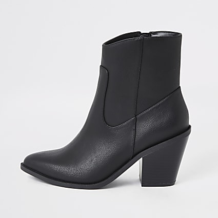 Black western heeled ankle boots