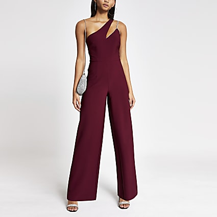 Dark red diamante one shoulder jumpsuit