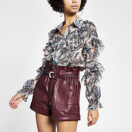 Dark red belted faux leather Mom shorts