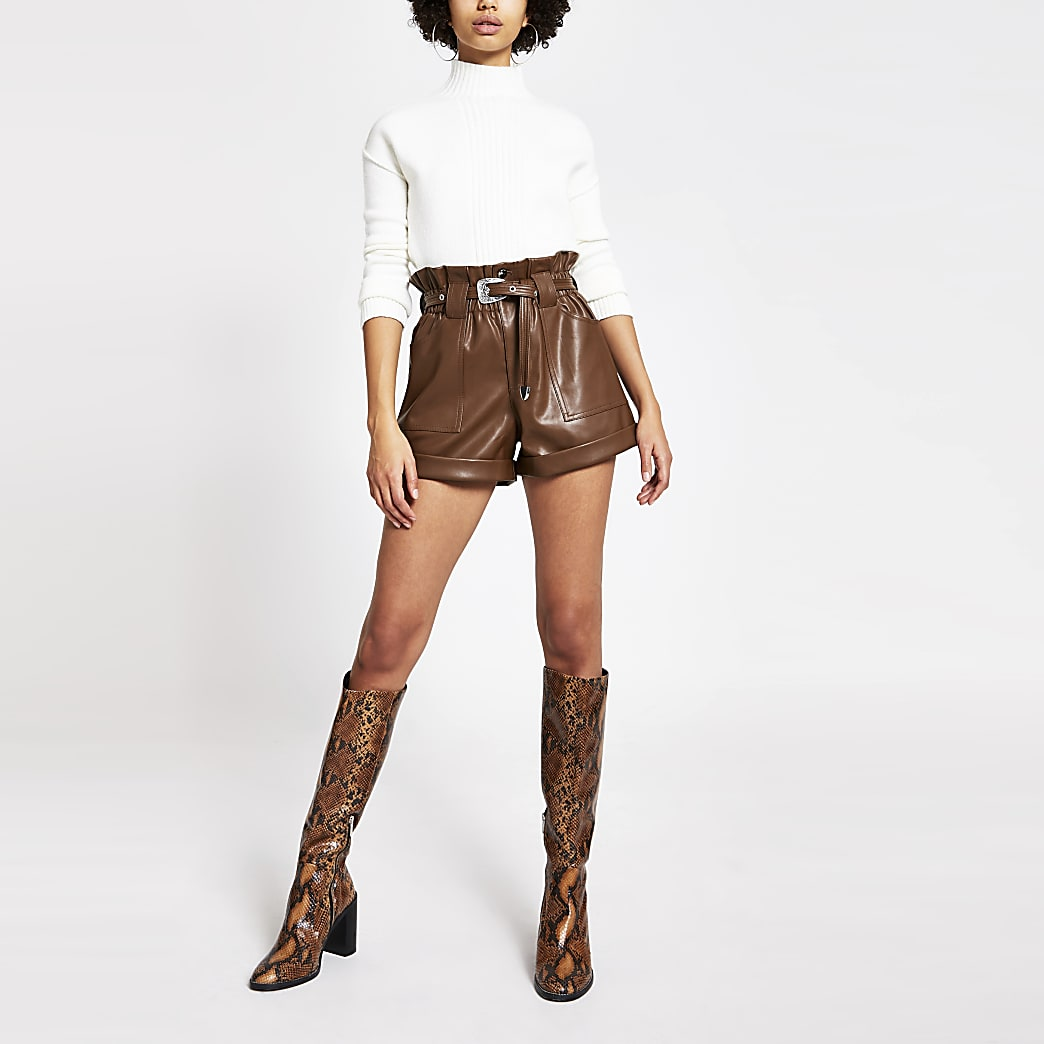 Brown belted faux leather Mom shorts