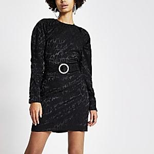 Zwarte mini-jurk met luipaardprint en pofmouwen