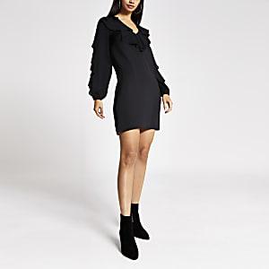Black  ruffle swing dress