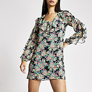 Schwarzes Swing-Kleid mit Rüschen, Blumen-Muster und durchsichtigem Ärmel