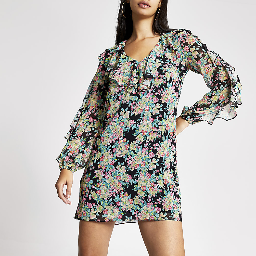 Black ruffle floral sheer sleeve swing dress