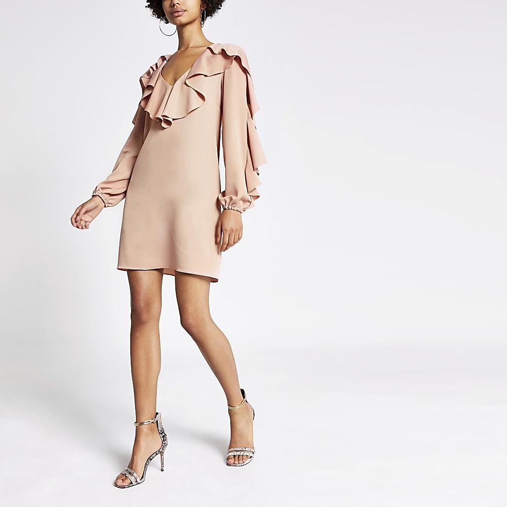 Light pink ruffle swing dress
