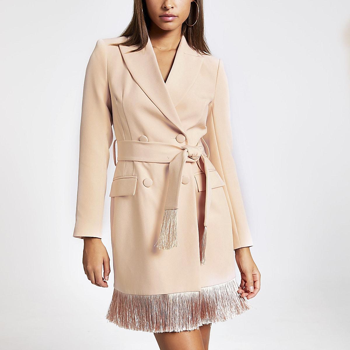 Pink tassel fringe blazer dress