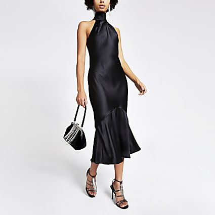 Black tie back satin midi dress