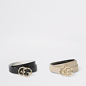 Lot de2 ceintures noires texturées avec double anneau