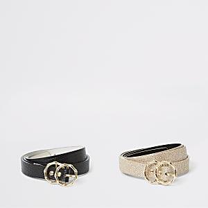 Set van 2 zwarte riemen met textuur en twee ringen