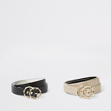 Black textured double ring belt 2 pack