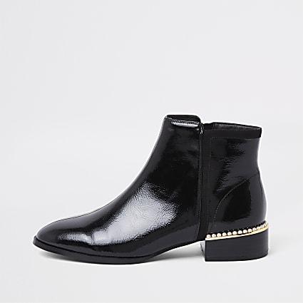 Black pearl embellished heeled ankle boots