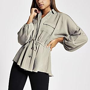 Langärmelige Bluse in Grau mit Taillenband