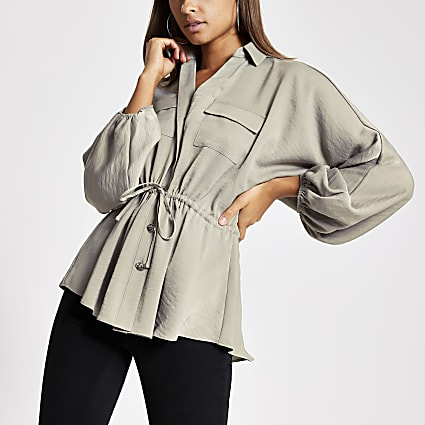 Grey tie waisted long sleeve shirt