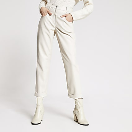 Cream faux leather Mom trousers