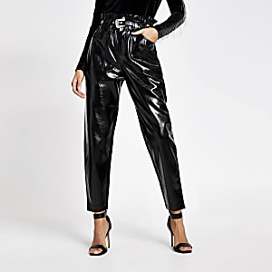 Black vinyl faux leather paperbag trousers