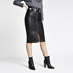 Jupe crayon en cuir synthétique noire zippée à ceinture