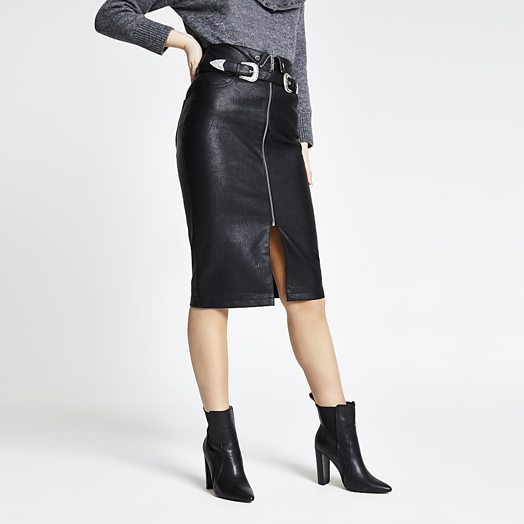 Black faux leather zip belted pencil skirt