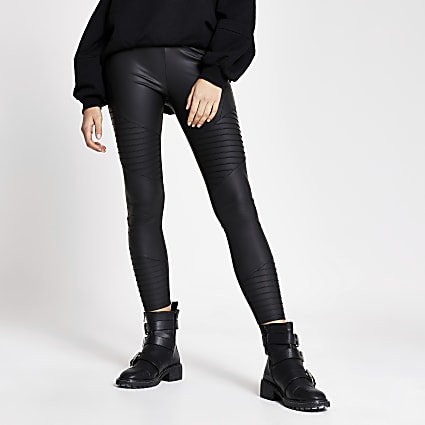 Black matte coated biker leggings