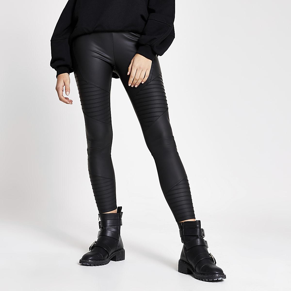 Black matte coated biker leggings