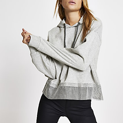 Grey diamante chain trim long sleeve hoodie