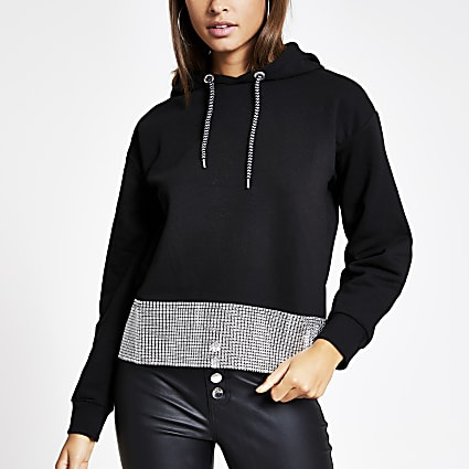 Black diamante chain trim long sleeve hoodie