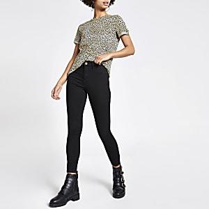 Beige T-shirt met luipaardprint en korte mouwen