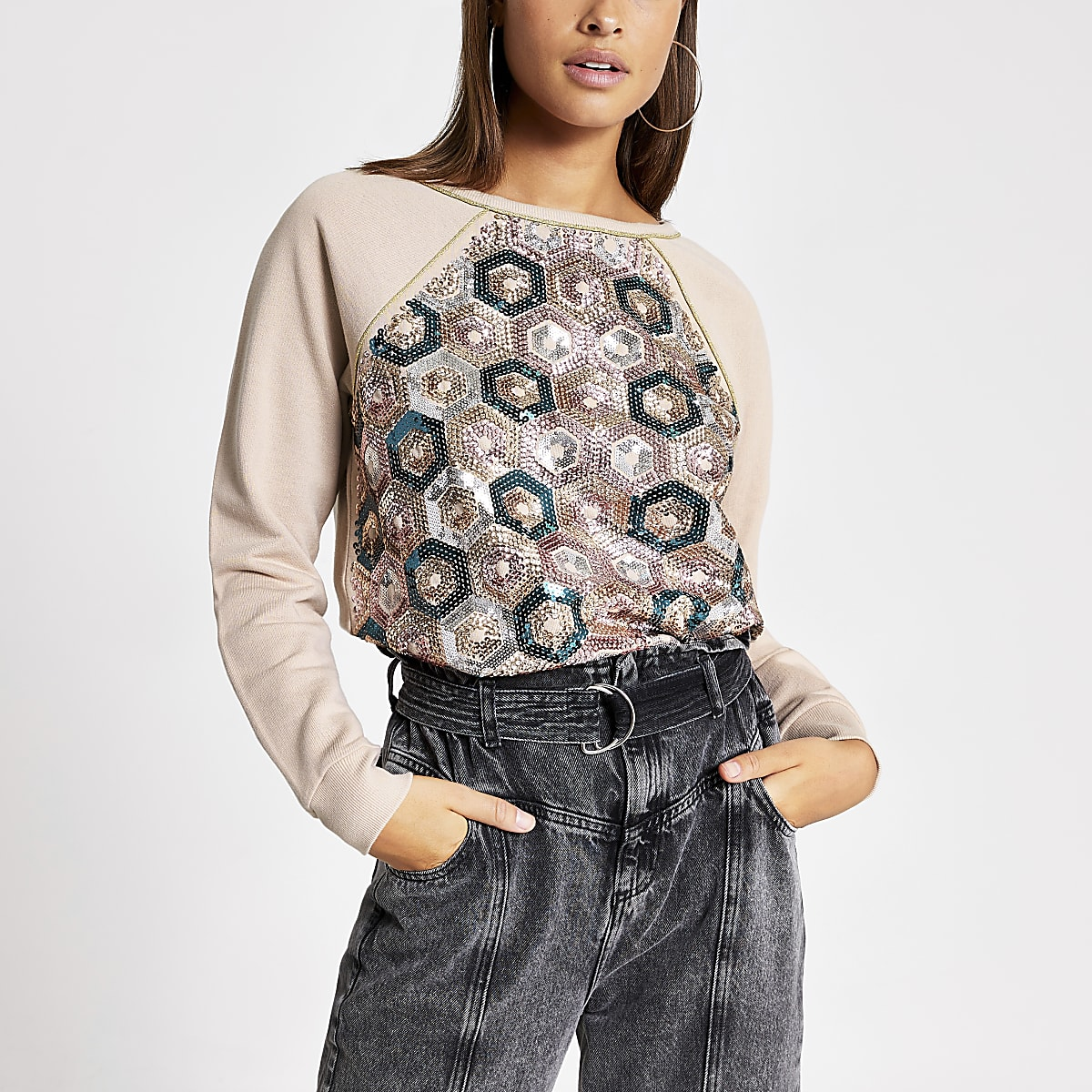 Pink sequin embellished loose fit sweatshirt