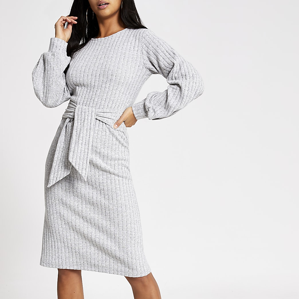 Petite grey tie front midi dress