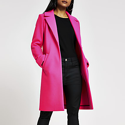 Petite pink single breasted longline coat