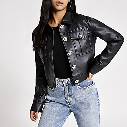 Petite black faux leather cropped jacket