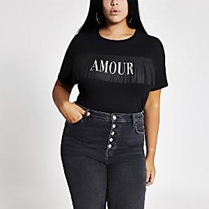 RI Plus - Zwart T-shirt met franje en 'Amour'-tekst