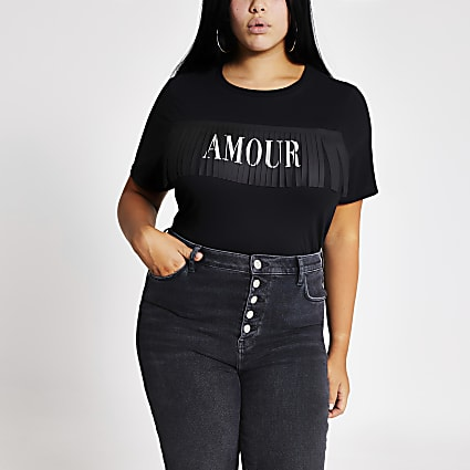 Plus black 'Amour' fringe T-shirt